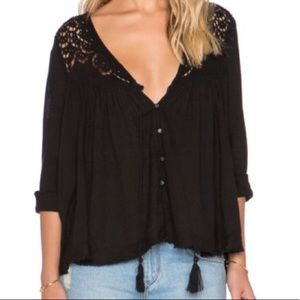 Free People Black Peasant Cropped Swing Lace Top